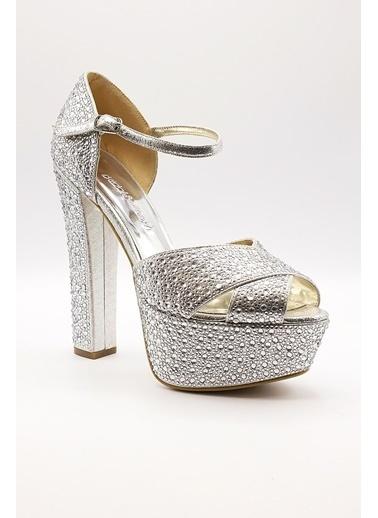 La scada Mr4975 Gümüş Platform Kadın Ayakkabı Gümüş
